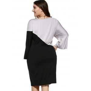 Chic Plus Size Hit Color Comfy Dress -
