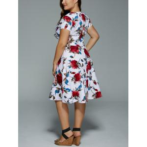 Plus Size V Neck Floral Print Dress -