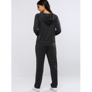 Pur Fitting Pants Sport Hoodie couleur et en vrac Set - Gris M