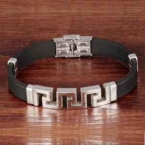 Carving Fret Silicone Bracelet - SILVER