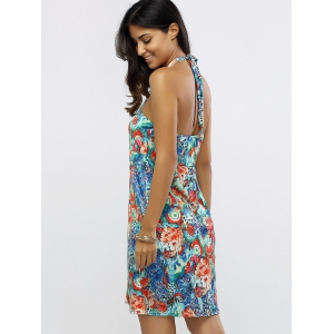 Halter Neck Ruched Floral Print Dress -