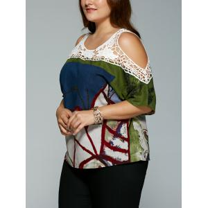 Plus Size Vintage Tribal Print Lace Spliced Hollow Out Blouse -