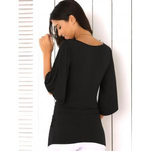 Slit de Bell Sleeve Wrap Plunge Neck Slimming Blouse - Noir M