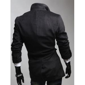 Notched Lapel Collar Double Breast Coat - BLACK L