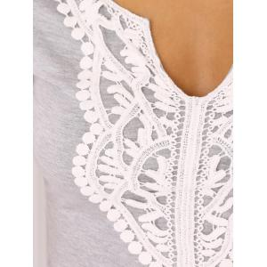 Scalloped Plunge Neck Lace Spliced Jabot Sliming T-Shirt -