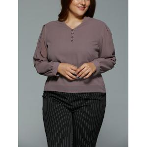 Plus Size V Neck High Low Buttoned Blouse - LIGHT COFFEE 5XL