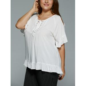 Plus Size Hollow Out Lace Spliced Flounce Blouse -