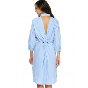 Backless Twisted Buttoned Striped Shirt Dress - LIGHT BLUE XL
