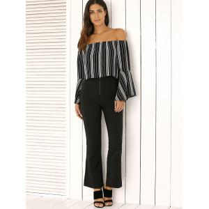 Off The Shoulder Bell Sleeve Stripe Cropped Blouse -