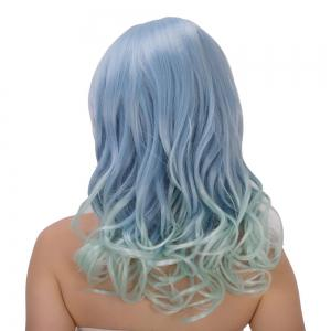 Graceful Long Side Bang Wavy Blue Mixed Green Film Character Cosplay Wig -