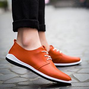 Concise Lace-Up and PU Leather Design Casual Shoes For Men -