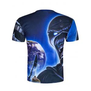 Round Neck Demon 3D Printed Cool T-Shirt - BLUE 2XL