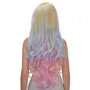 Faddish Rainbow Long Full Bang Wavy Film Character Cosplay Wig -