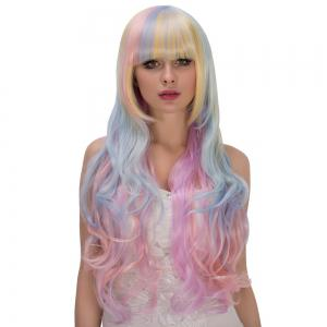 Faddish Rainbow Long Full Bang Wavy Film Personnage Cosplay Wig -