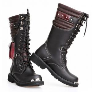 Stylish Color Block and Metal Design Combat Boots For Men - BLACK 43