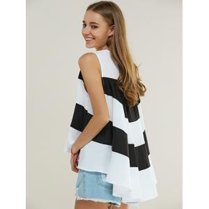 High Low Back Ruffled Color Block Tank Top -