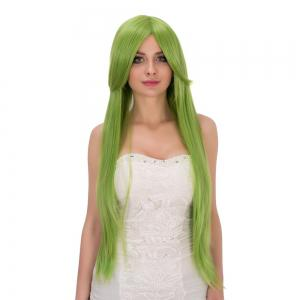 Fairy Neon Bright Green Long Side Bang Straight Film Character Cosplay Wig -