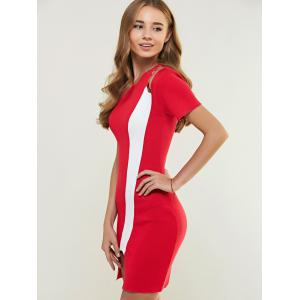 Color Block Cut Out Knitted Bodycon Dress -
