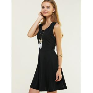 Sleeveless Pure Color Backless Crossover Dress -