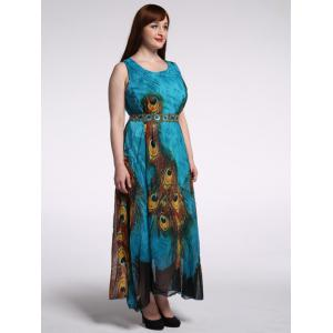 High Waist Plus Size Animal Print Dress - PEACOCK BLUE 9XL