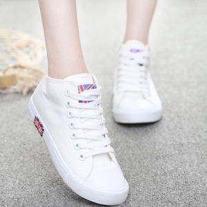 Casual Solid Color and Mid Top Design Canvas Shoes For Women -