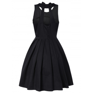 Pure Color Back Bowknot Hollow Out Pleated Dress -