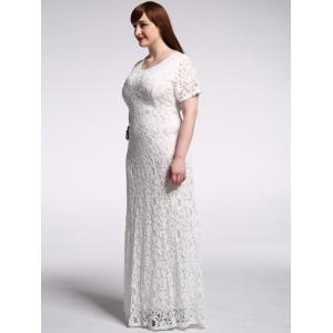 Floor Length Lace Floral Maxi Prom Dress -