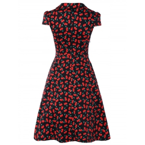 Vintage V-Neck Cherry Print Fit and Flare Dress -