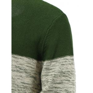Spliced Geometric Knitted Long Sleeve Sweater - DEEP GREEN 2XL