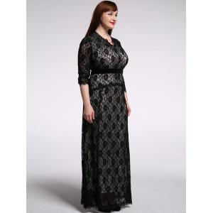 Plus Size Maxi Lace Formal Dress with Sleeves - BLACK 6XL