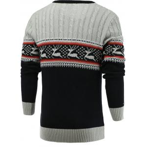 Color Blocks Spliced Elk Knitted Sweater - GRAY 2XL