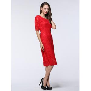 Half Sleeve Hollow Out Slimming Lace Dress -