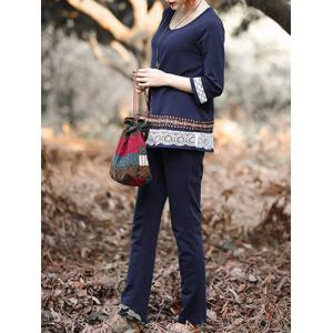 Ethnic Laciness Top and Pure Color Pants Suit For Women -