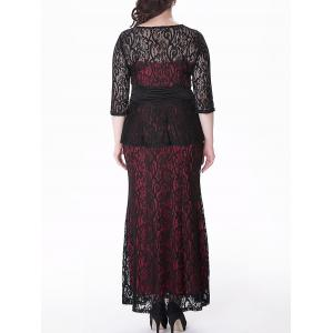 Plus Size Peplum Long Lace Formal Dress -