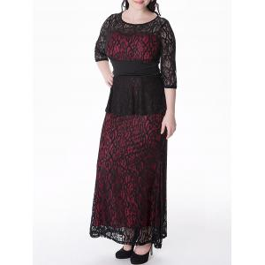 Plus Size Peplum Long Lace Formal Dress - RED 6XL
