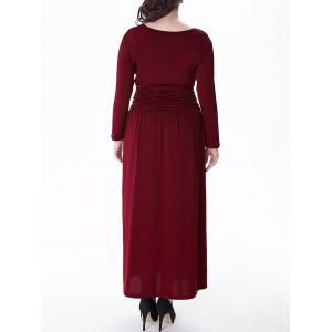 Plus Size V Neck Long Sleeve Prom Maxi Dress - WINE RED 3XL
