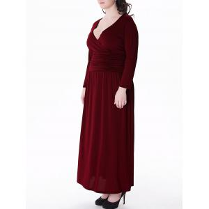 Plunge Maxi Plus Size Empire Waist Prom Dress - WINE RED 3XL