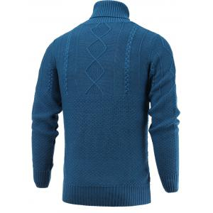 Turtleneck Long Sleeve Geometric Knitted Sweater - BLUE XL