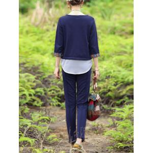 Casual Faux Two-Piece Top and Solid Color Pants Suit For Women -