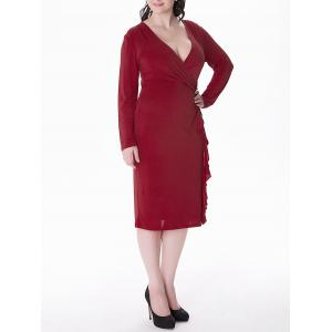 Plus Size Flounce Long Sleeve Sheath Business Midi Dress - DEEP RED 5XL