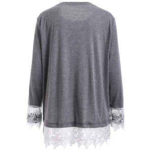 Plus Size Lace Splicing Long Sleeve T-Shirt - GRAY 5XL