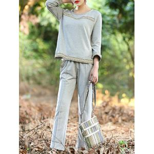 Simple Woven Hem Top and Pants Suit For Women -