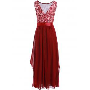 Lace Panel Chiffon Long Evening Prom Dress -