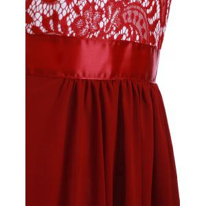 Lace Panel Chiffon Long Evening Prom Dress - WINE RED XL