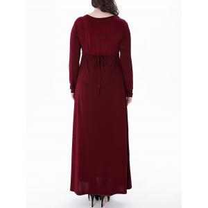 Plus Size Empire Waist Long Formal Dress - WINE RED XL