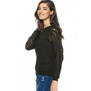 Lace Crochet Long Sleeve Round Neck Sweatshirt -