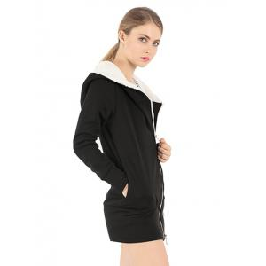 Zipper Embellished Long Sleeve Hoodie -