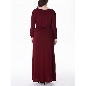 Plus Size Long Surplice Formal Dress with Sleeves -