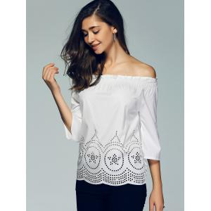 3/4 Sleeve Lace Crochet Off The Shoulder Blouse -