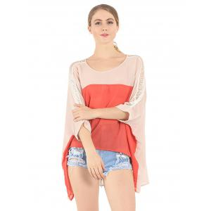 Ripped Crochet Paneled Color Splicing Asymmetrical Blouse -